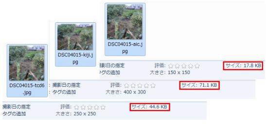 Multisize Resizerのリサイズ後の画像容量