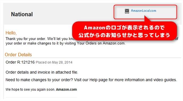 amazonを偽装したメール