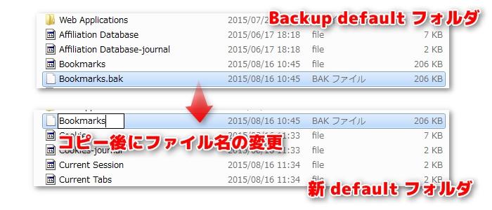 破損データからのブックマーク移行の方法
