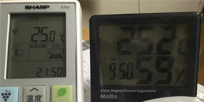 エアコン設定温度と室内温度が一致!