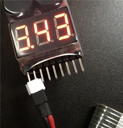 GoolRC T5W 飛行後のリポバッテリー電圧は約3.43v