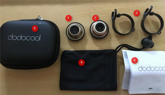 dodocool 3-イン-1 カメラレンズキット クリップ式 梱包内容
