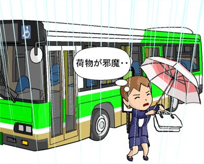 傘をたたむのに両手を使わなければいけない