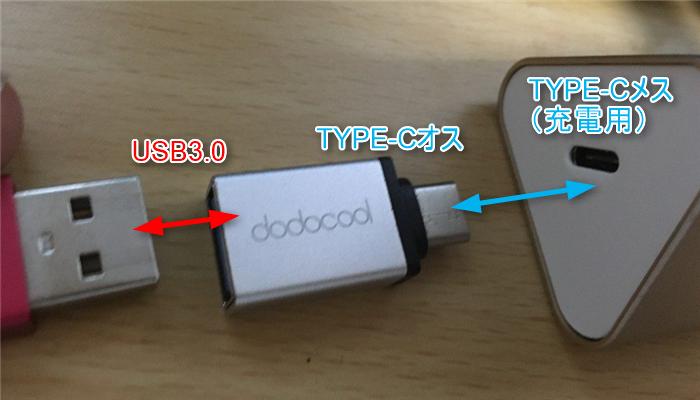 USB3.0→TYPE-Cオス変換コネクタ