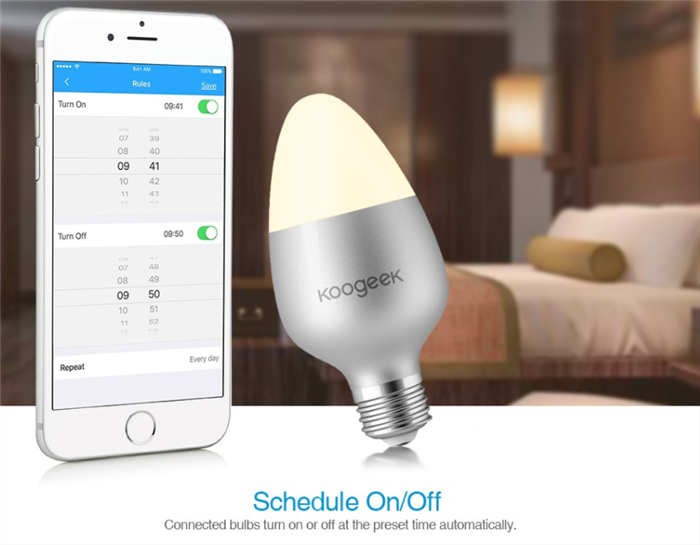 Koogeek Wi-Fi Enabled E27 8W Color Changing Dimmable Smart LED