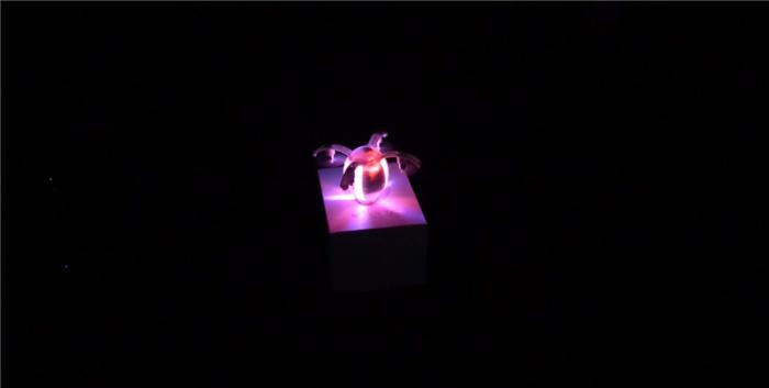 闇に光る卵型ドローン