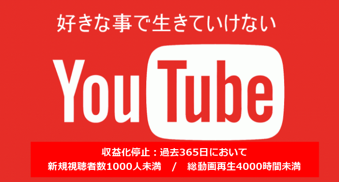 Youtube収益化ルール改定!?1年以内に4000時間の視聴と1000人の新規視聴者が必要!?