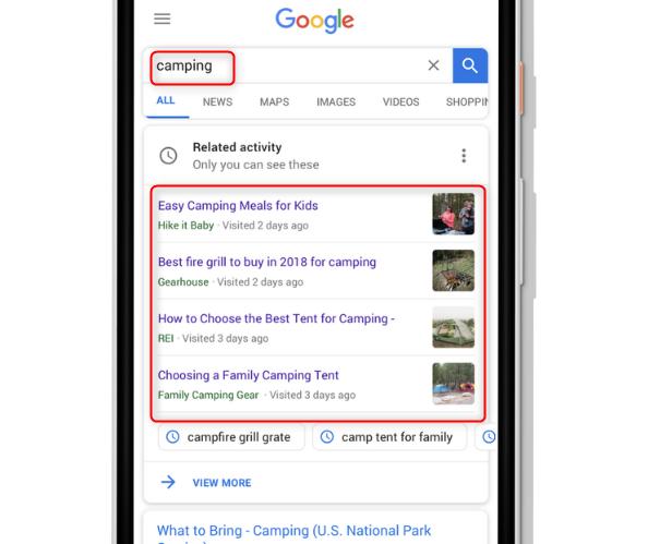 Googleアクティビティカード